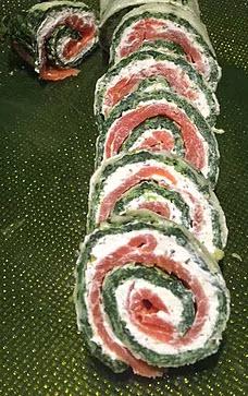 Spinat-Roulade mit Schinken oder Lachs